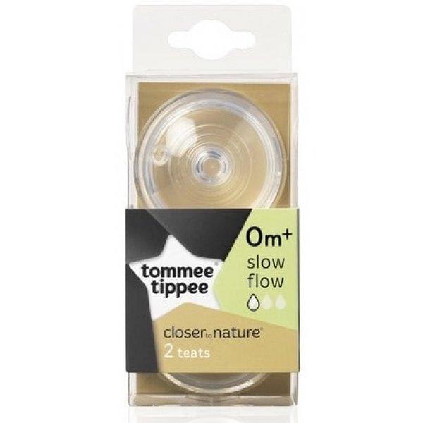 Tommee Tippee Náhradní savičky C2N pomalý průtok 0+ 2ks Transparent
